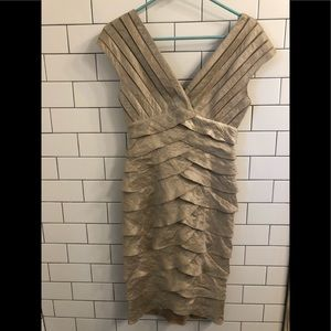 Stunning Gold Ruffled Cache Cocktail Dress Size 2